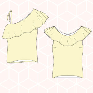 PDF sewing pattern ruffle top valene
