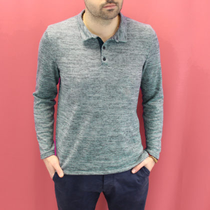Polo William jersey bleu chiné