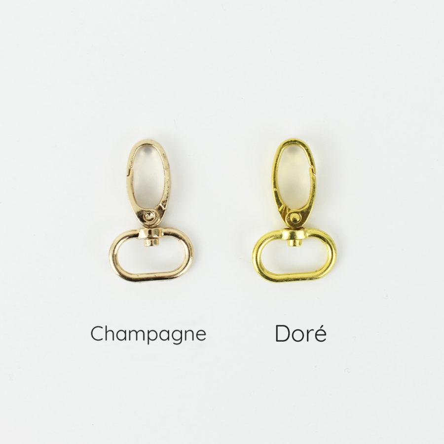 Mousqueton champagne - doré 20mm