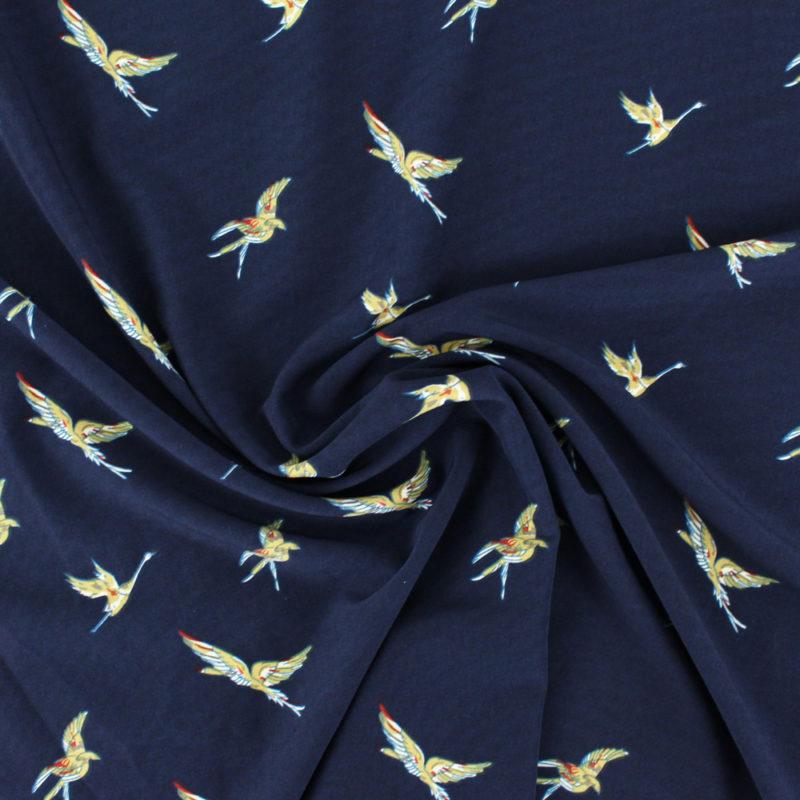 Tissu Crepe birds bleu marine