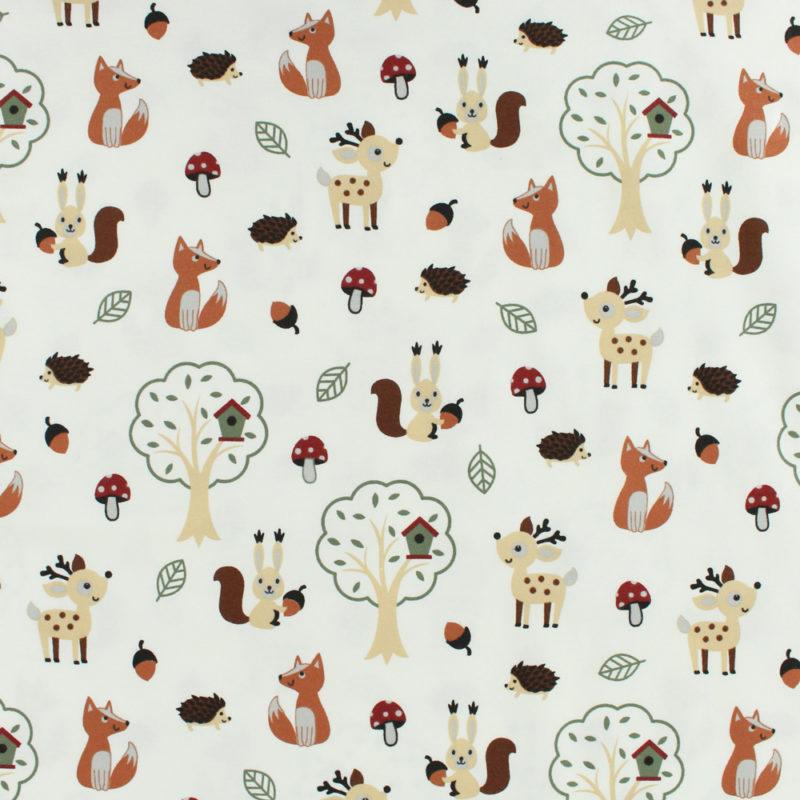 Tissu Jersey coton balade en forêt blanc