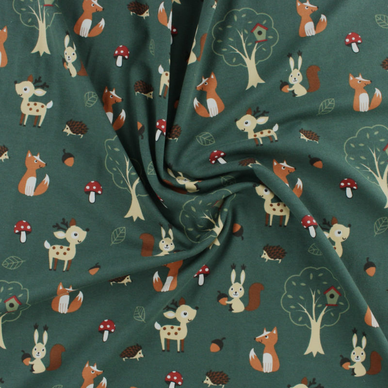 Tissu Jersey coton balade en forêt vert