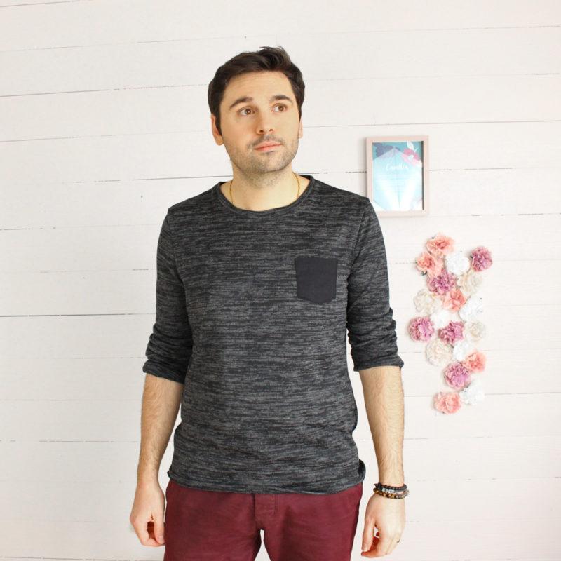 Kit couture pull Léo chiné noir