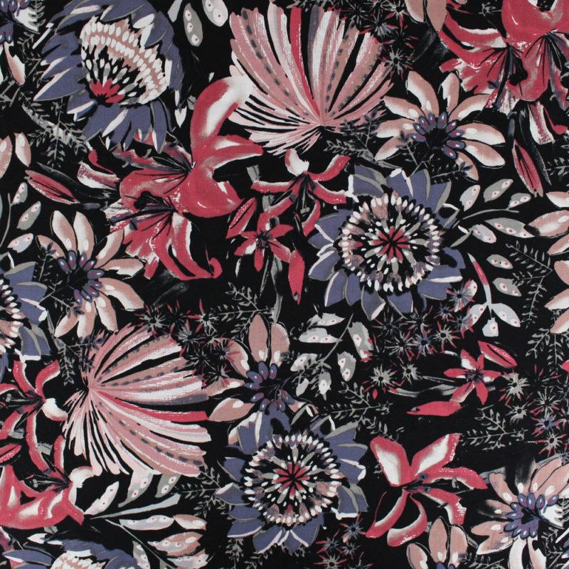 Tissu Viscose peinture fleurie
