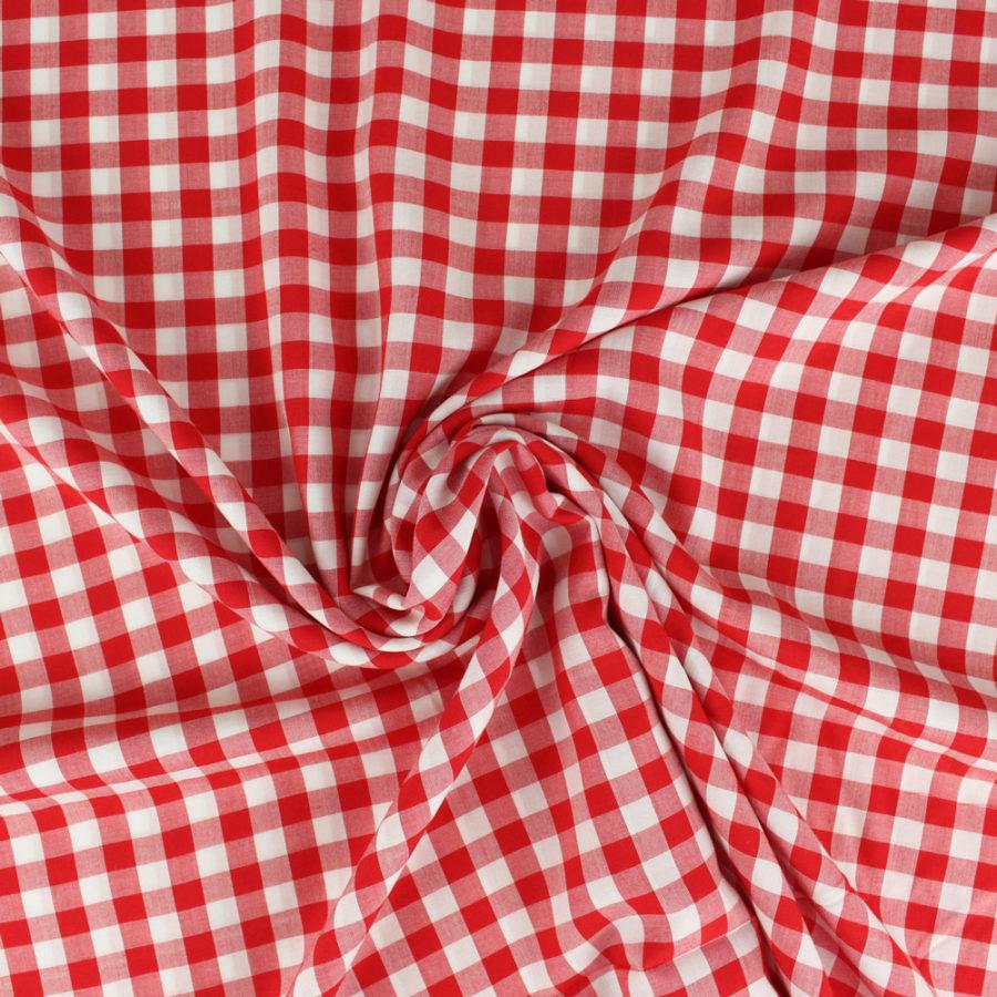 Tissu Viscose vichy - rouge
