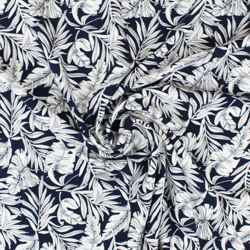 Tissu viscose jungle bleu marine