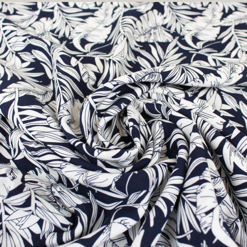 Tissu viscose jungle bleu marine