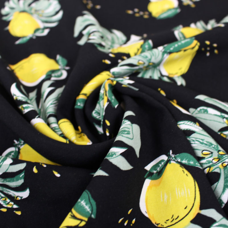 Tissu viscose citrons noir