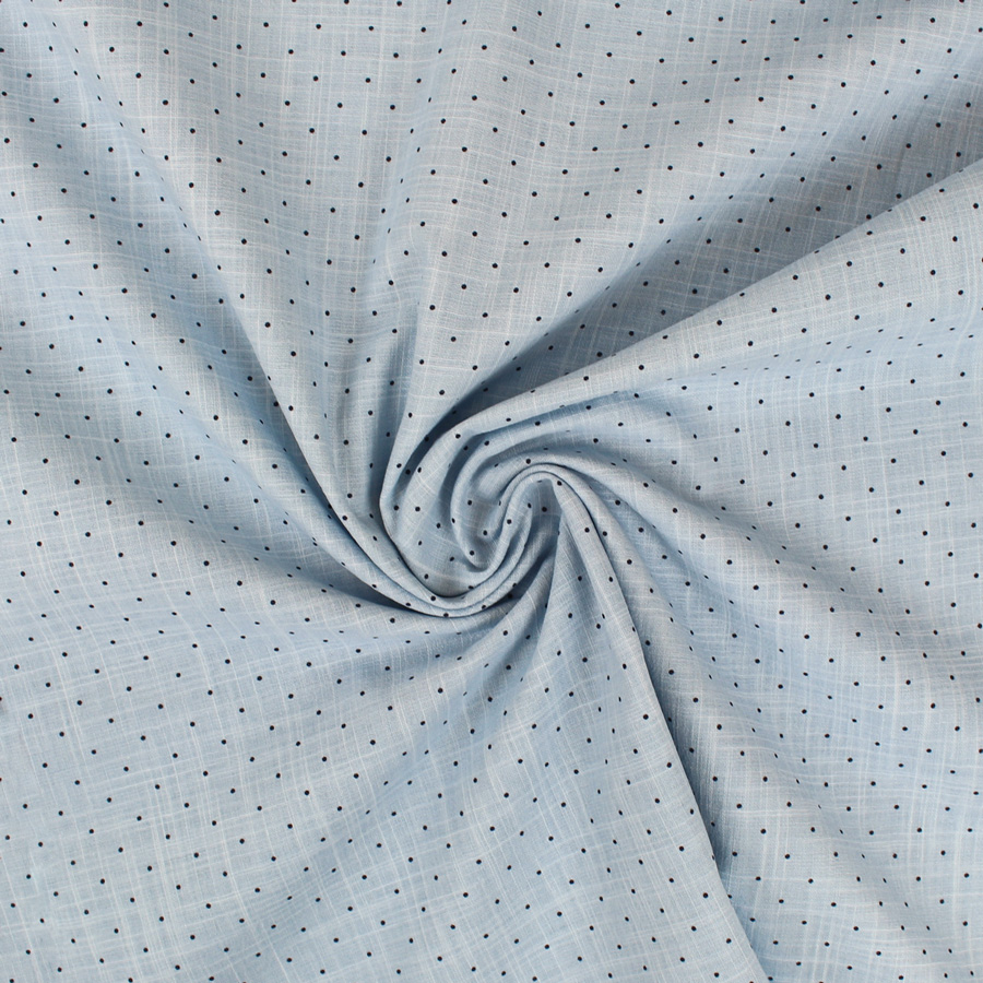 Tissu coton bleu à pois noirs