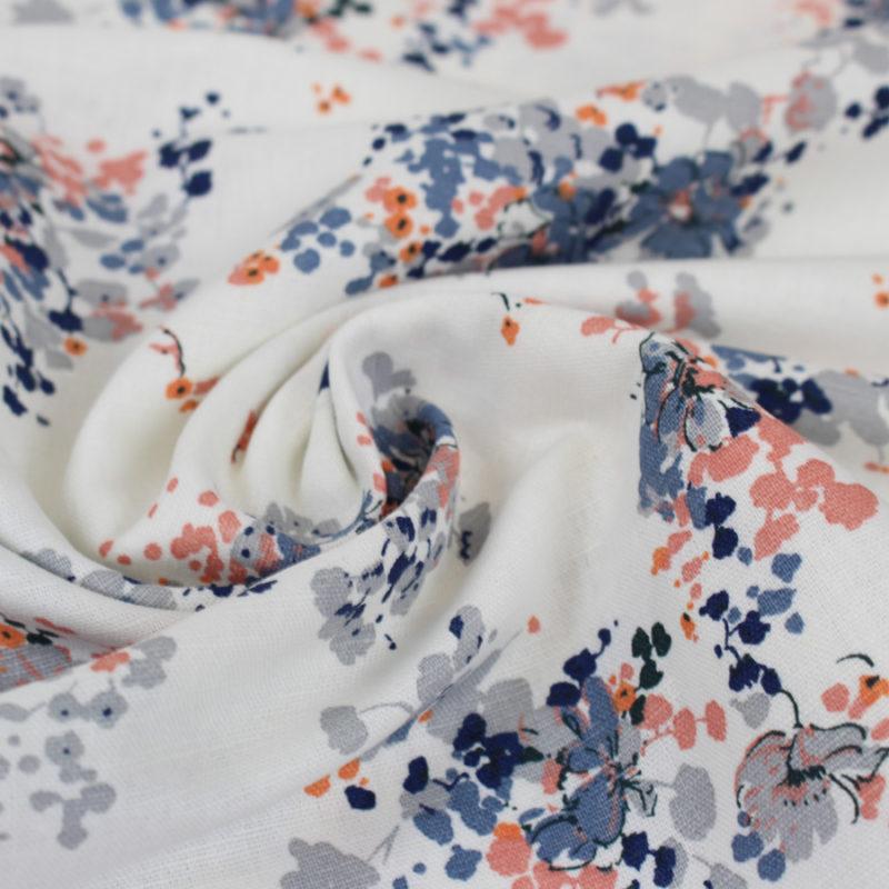 Tissu coton bouquet d'été bleu