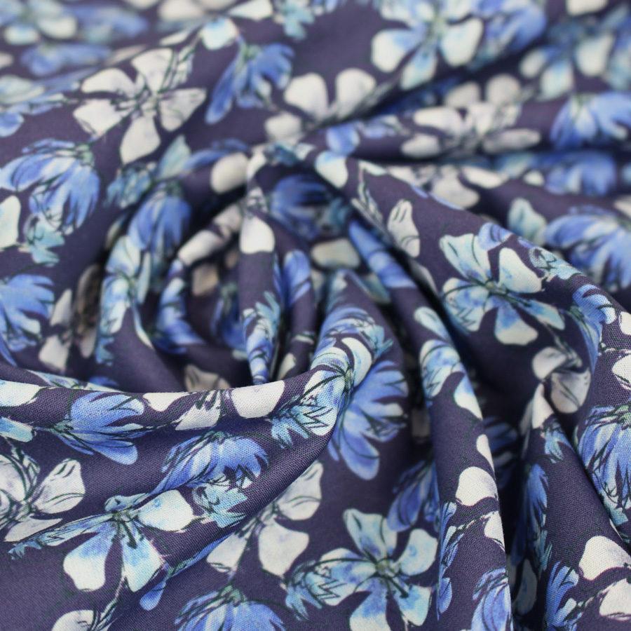 Tissu coton fleurs de mauve