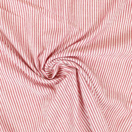 Tissu coton gondolé à rayures rouges