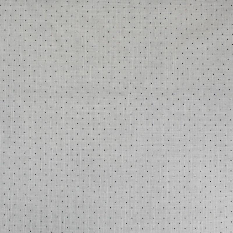 Tissu coton gris à pois noirs