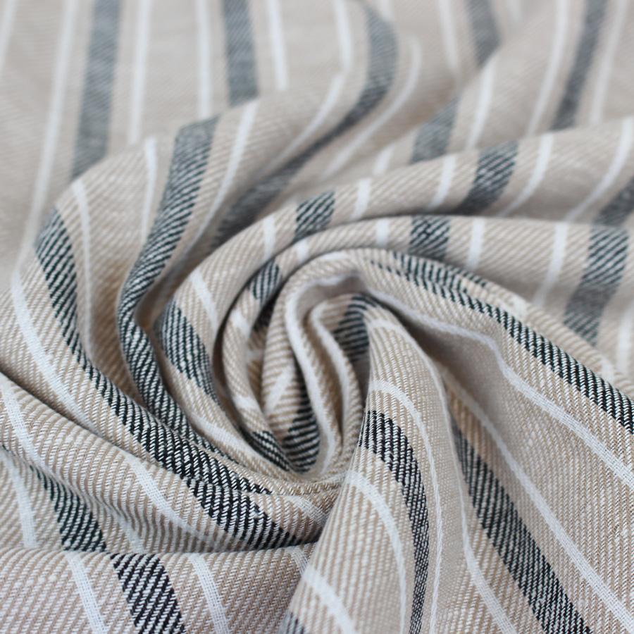 Tissu lin et coton à larges rayures