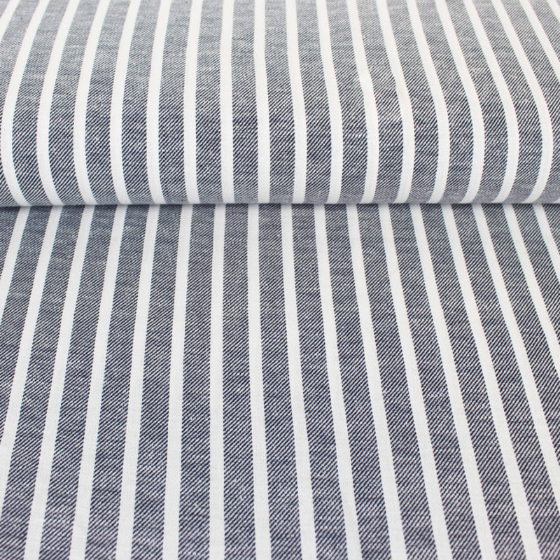 Tissu lin à rayures bleu marine