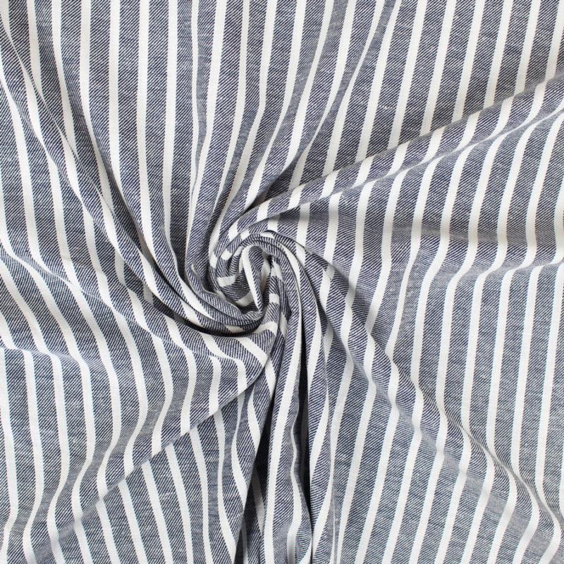 Tissu lin à rayures bleu marine
