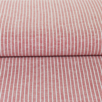 Tissu lin viscose à rayures rouges