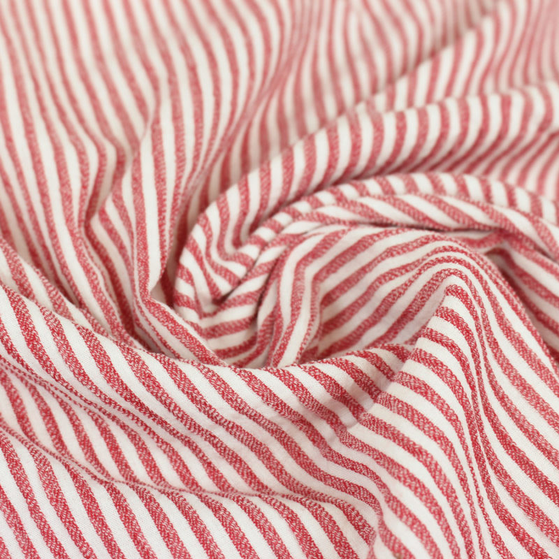 Tissu lin viscose à rayures rouges