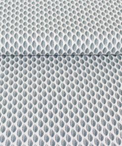 Tissu popeline de coton feuilles aquamarine et blanc