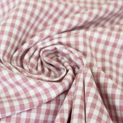Tissu coton BB carreaux 5 mm vieux rose