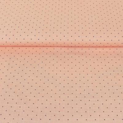 Tissu coton saumon à pois noirs