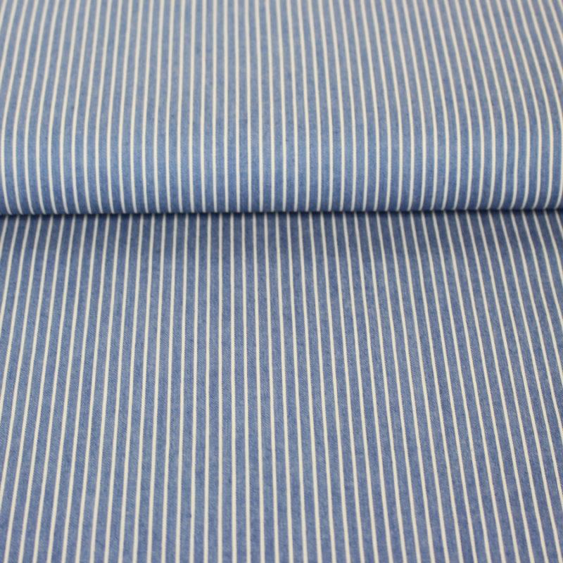 Tissu chambray fines rayures bleu