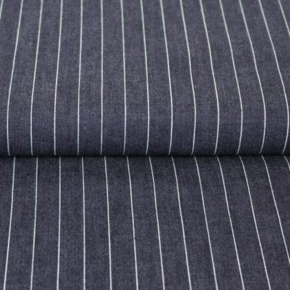 Tissu chambray bleu foncé à rayures