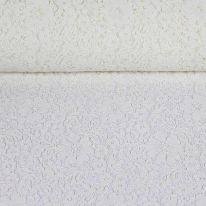 Tissu dentelle guipure fleurs d'Italie blanc cassé
