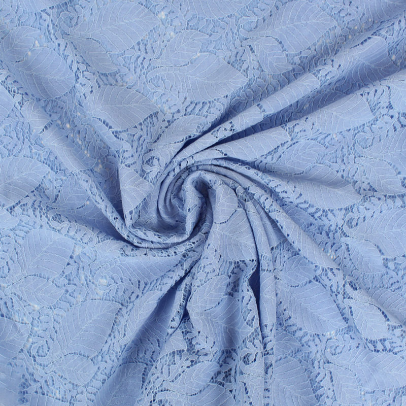 Tissu Dentelle guipure feuilles - bleu