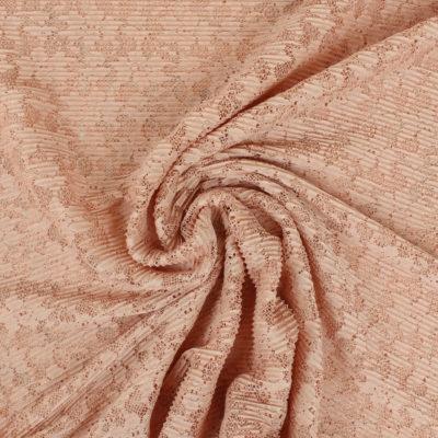 Tissu Dentelle plissée saumon
