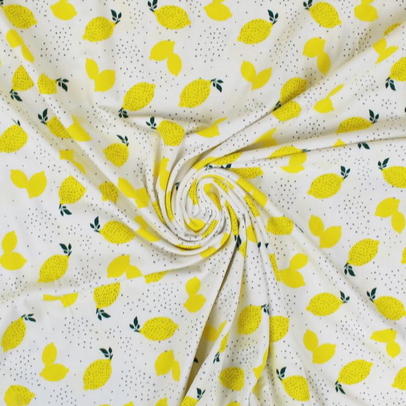 Jersey de coton blanc motif citrons