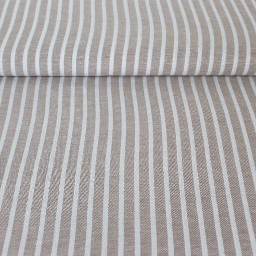 Tissu lLin viscose rayures 12 mm- sable
