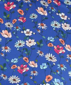 Tissu Satin bleu Fleurs de Printemps