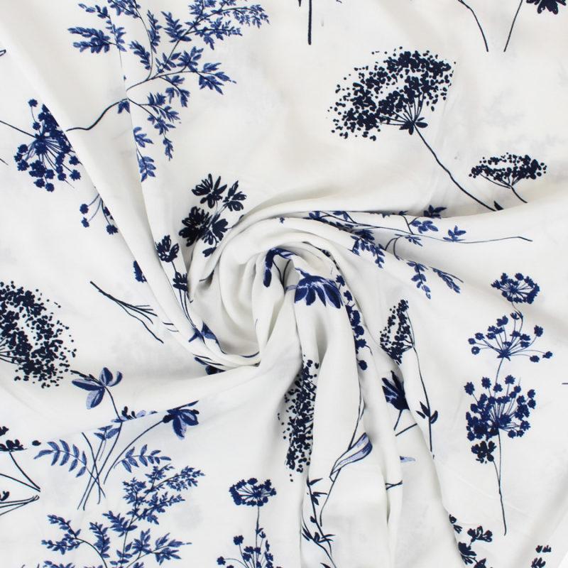 Tissu viscose douceur fleurie blanc