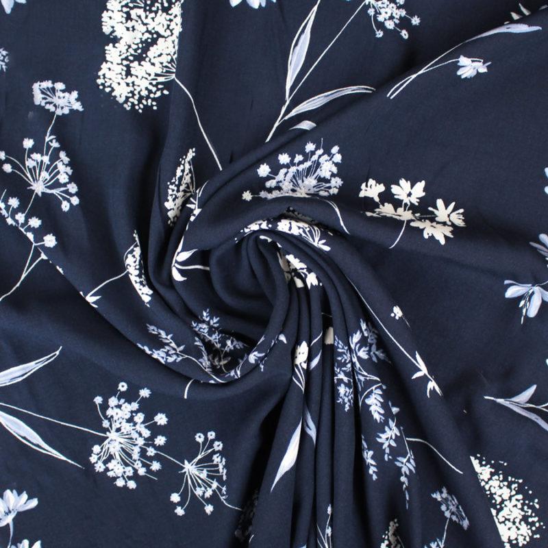 Tissu viscose douceur fleurie bleu marine