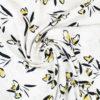 Tissu viscose imprimé fleurs esquisse ecrue
