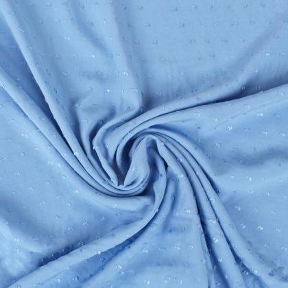 Tissu viscose plumetis bleu ciel