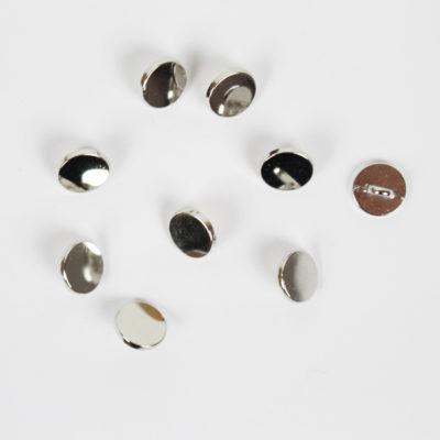 Boutons 10mm métal argent plat