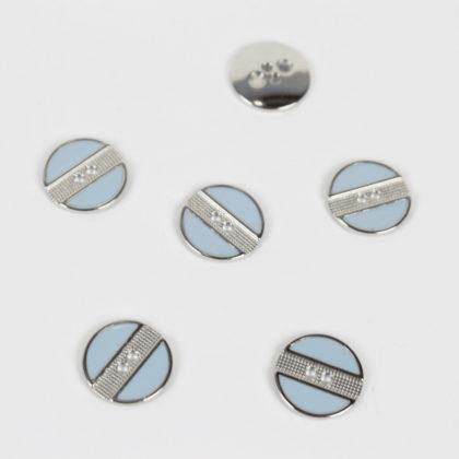 Boutons stripes bleu ciel et argent 18 mm