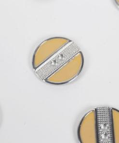 Boutons stripes pêche et argent 18 mm