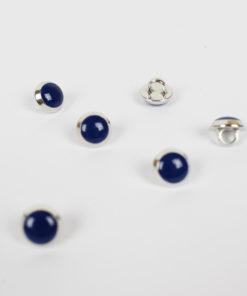 Bouton 9mm bleu marine et métal argenté