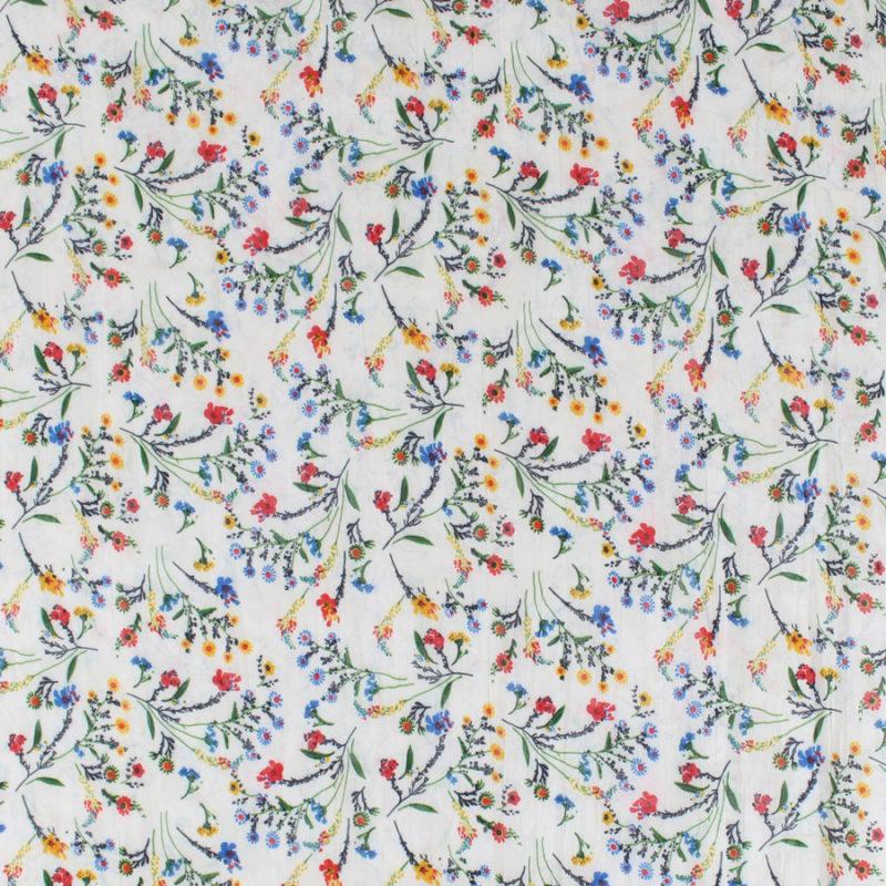Voile de coton froissé à motifs fleuris