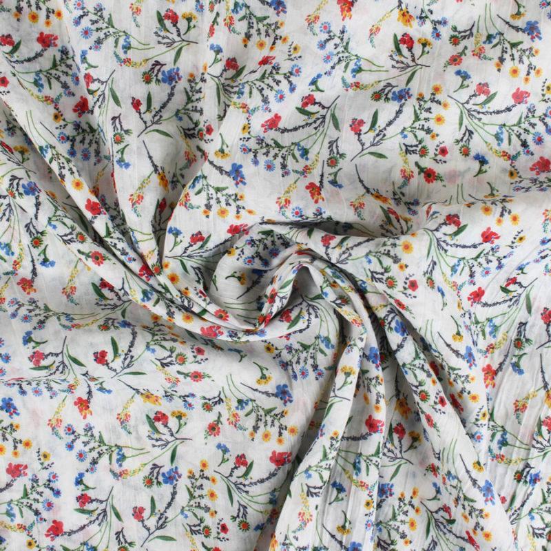 Voile de coton froissé fleuris