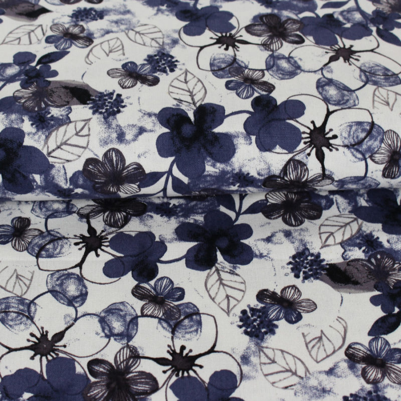 Tissu lin et viscose à jolies fleurs bleues