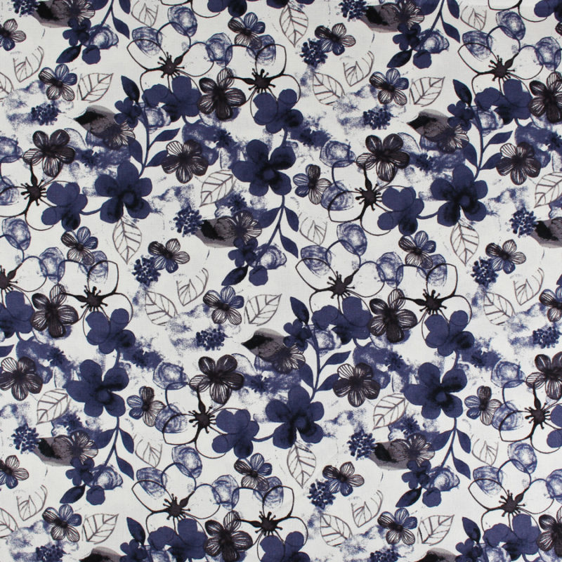 Tissu lin et viscose à jolies fleurs bleues