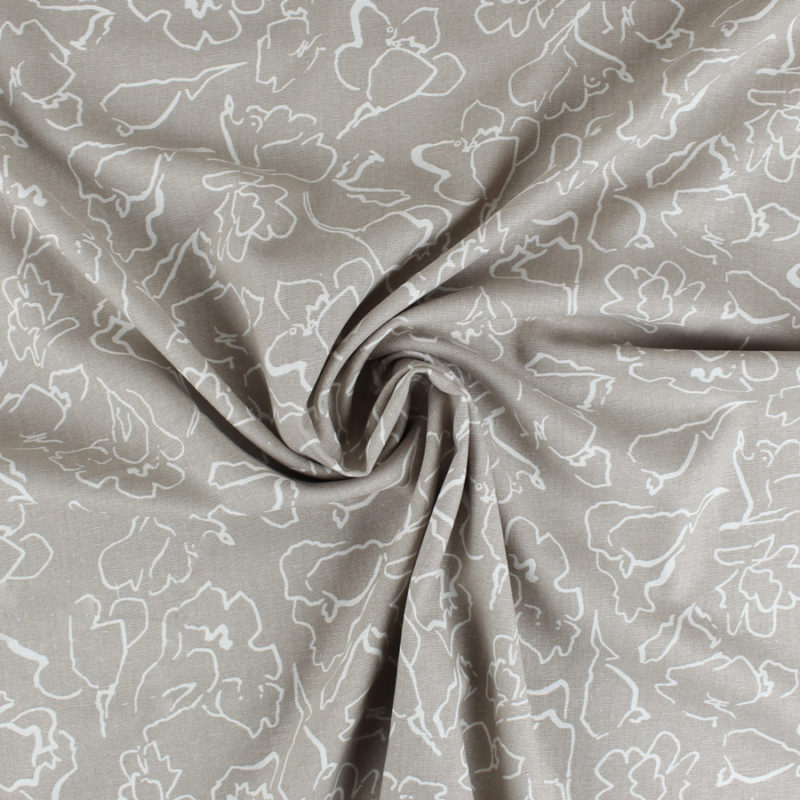 Tissu lin et viscose au motifs art abstrait fleur beige