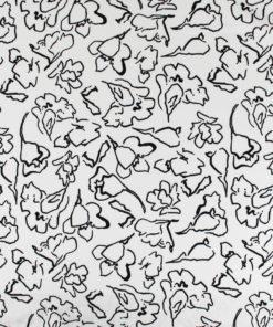 Tissu lin et viscose au motifs art abstrait fleur blanc
