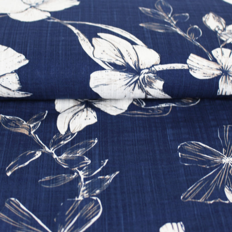 Voile de coton texturé à motifs végétal bleu