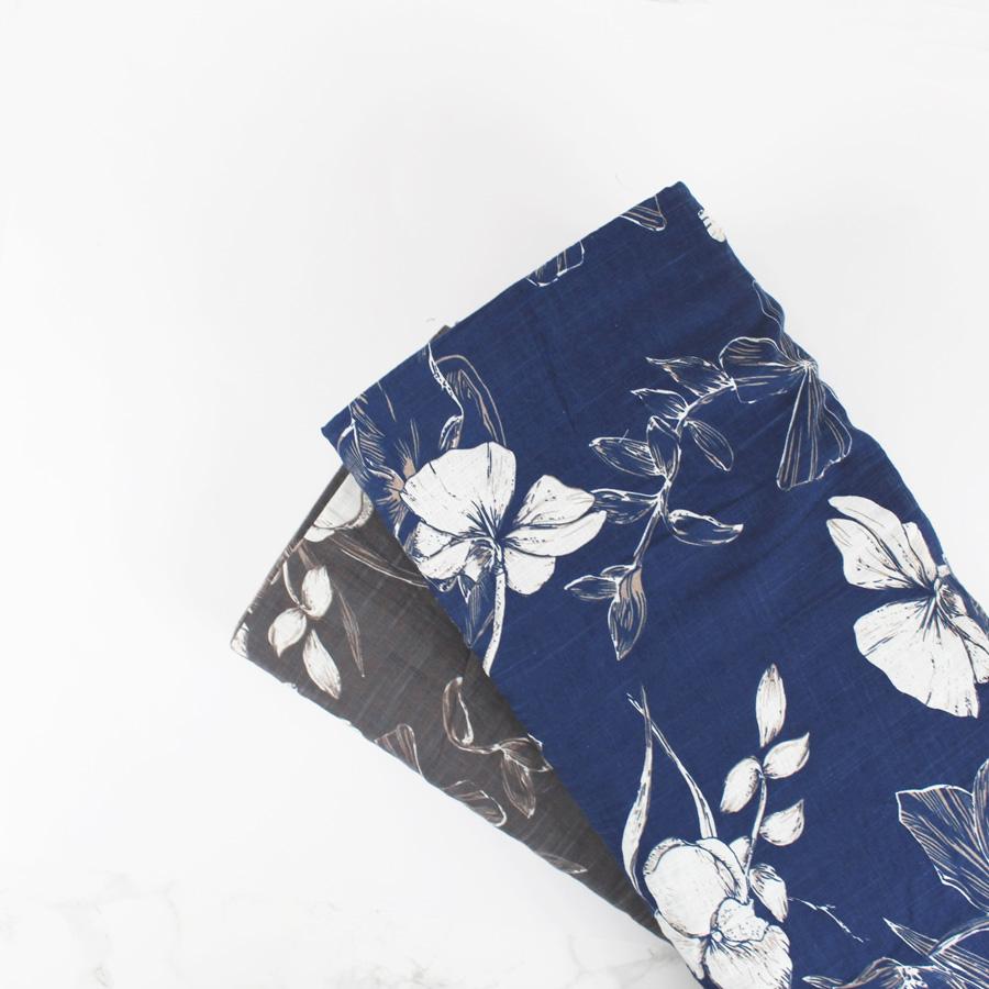 Voile de coton texturé à motifs végétal