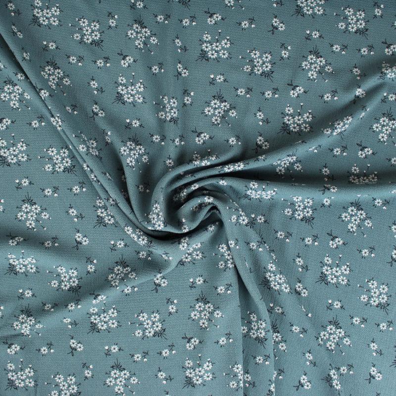 Tissu crêpe gaufré aquamarine petites fleurs